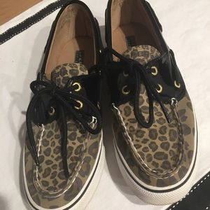 Sperry Leopard and Black Patent Shoes